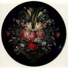 """Россия.Жостово.""""Тарелка с букетом цветов""""1926"""