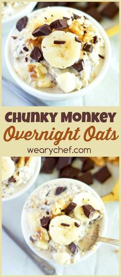 Best Overnight Oat Recipes This overnight oats recipe with dark chocolate and banana makes for a deliciously satisfying and easy breakfast!This overnight oats recipe with dark chocolate and banana makes for a deliciously satisfying and easy breakfast! Weight Watcher Desserts, Comida Kosher, Easy Overnight Oats, Overnight Breakfast, Best Overnight Oats Recipe, Low Calorie Overnight Oats, Weight Watcher Overnight Oats, Dairy Free Overnight Oats, Overnight Oats With Yogurt
