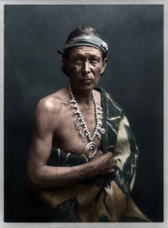 Viktoria Madison colourising a stunning portrait! Title: The Medicine man Medium: 1 photographic print. Summary: Navajo Indian, half-length portrait, facing front. Photograph copyrighted by William J. Carpenter, 1915.