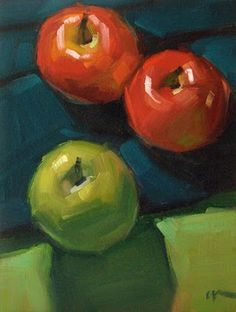 """Daily Paintworks - """"Apple Journey - SOLD"""" by Carol Marine"""