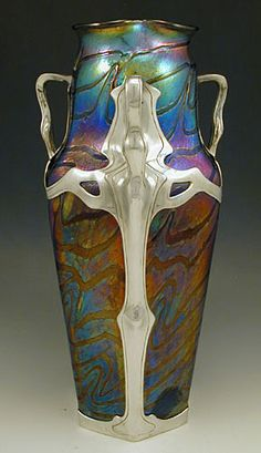 Loetz Art Nouveau Irridescent Glass Vase with Van Hauten Pewter Mount, c 1905