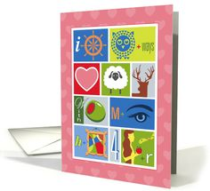 Love You Rebus Puzzle Valentines's Day card by Ron Magnes at GreetingCardUniverse.com #anycardimaginable