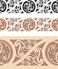 Maori styled seamless pattern vector art illustration