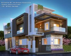 18 Ideas For Exterior House Bungalow Front Elevation House Outside Design, House Front Design, Bungalow House Design, Modern Bungalow, Bungalow Exterior, Modern Exterior, House Architecture Styles, Modern House Facades, Modern Villa Design