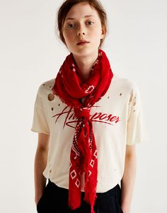 Pull&Bear - woman - accessories - what's new - oversized bandanna - red - 09840307-I2017