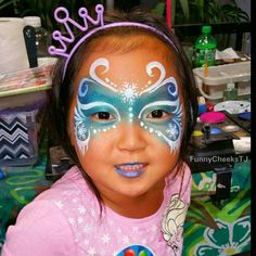 Face painting by FunnyCheeksTJ Dallas Face Painter || Frozen Ice mask