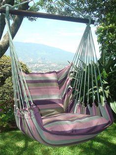 Hangstoel Aubergine XL   hanging chair Hammock $79 Hanging Hammock Chair, Outdoor Furniture, Outdoor Decor, Lazy, Sweet Home, Relax, Deck, Home Decor, Design