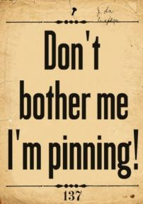 Don't bother me  I'm pinning!