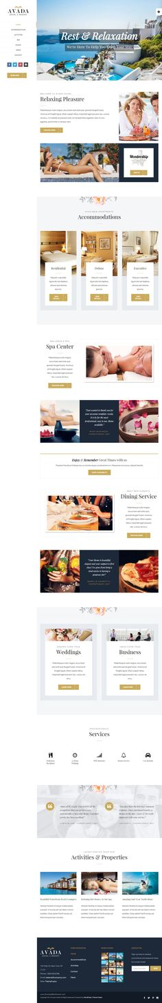 Avada is most popular multipurpose WordPress Theme of all time. It has sold over +200,000 copies. Avada Hotel is a beautiful high end demo geared toward the hotel industry. Side header layout with beautiful layout sections for images and copy. #Hotel #Resort #wptemplate