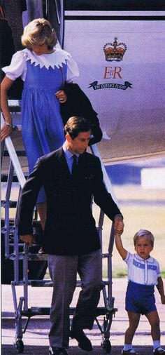 August 20, 1984 - Prince Charles, Princess Diana and Prince William arriving at Aberdeen Airport in Scotland for a holiday at the Queen's Balmoral Castle & Estate