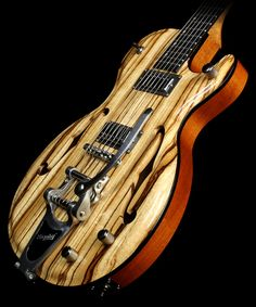 2013 Demers Voodoo Hollowbody - Zebrawood top, Mahogany body, Lauzon Mini-Humbucker Pickups, and chrome hardware with carbon fiber accents. like the the master volume and individual tone control setup Electric Guitar For Sale, Electric Guitars, Bass, Spalted Maple, Guitars For Sale, Cigar Box Guitar, Ex Machina, Guitar Building, Beautiful Guitars