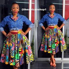 Freeda mi longueur jupe par THEAFRICANSHOP sur Etsy