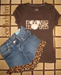 Minnie LOVE safari t-shirt jeans shorts Disney Vacation outfit Mickey Custom Personalized Applique Boutique. $45.00, via Etsy.
