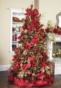 Poinsettia Damask Tree By Raz Elegant Christmas Trees Christmas Tree Themes Christmas