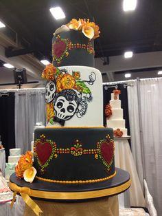 Dia de Los Muertos theme wedding cake
