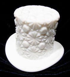 Vintage Fenton Daisy Button Milk Glass Top Hat