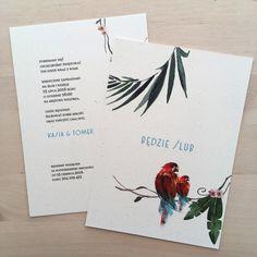 zaproszenie ślubne akwarele papugi w tropikach