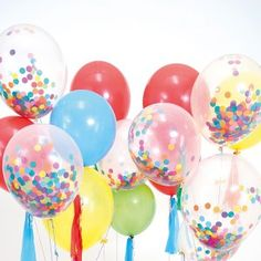 Our Clear Confetti Balloon kits are a spectacular addition to any event. Once you fill your balloon rub it on your clothing to cause static and the confetti will stick to the sides. Clear Balloons With Confetti, Jumbo Balloons, Foil Balloons, Latex Balloons, Shopkins, One Balloon, Balloon Party, Birthday Balloons, Rainbow Birthday
