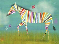 Rainbow Zebra Canvas Art Print von twoems auf Etsy