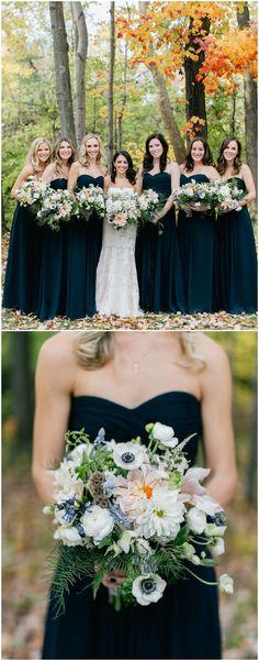 Midnight blue bridesmaids, wedding fashion, long dresses, strapless, bridesmaid bouquet, anemones, dahlias, scabiosa pods // Emily Wren Photography