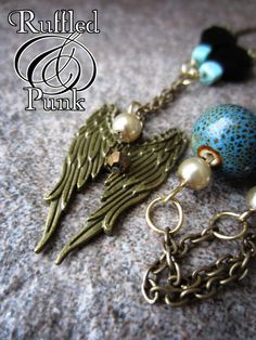 Angle Wings, Turquoise, Rock, Hardcore, Beaded, Pendant, Chain Necklace, Rockabilly, Jewelry, Teen, Women, RTS RAYVEN. $17.00, via Etsy.