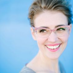 """""""Close up of @karlareed in the Kate Spade 'Lyssa' glasses in Pink Glitter. 