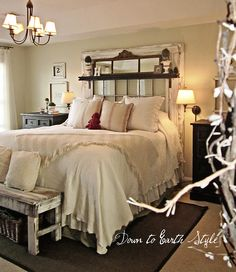 headboard created with an old window, door and salvaged wood ~ gorgeous!