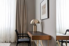 Bespoke writing desk with leather top and brass accents. http://studiomillsdesign.com/
