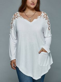 Plus Size Lace Spliced Asymmetric T-Shirt