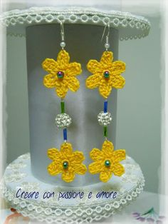 Orecchini ad uncinetto by https://www.facebook.com/creareconpassioneeamore/ … … #crochet #handmade #earrings #lemaddine #jewelry #bijoux