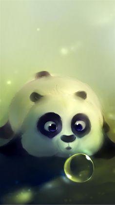 Cute Panda Bubble iPhone 6 Plus HD Wallpaper