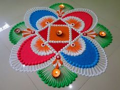 ideas crochet edging easy projects for 2019 Colorful Rangoli Designs, Rangoli Designs Diwali, Diwali Rangoli, Rangoli Designs Images, Beautiful Rangoli Designs, Ganesh Rangoli, Rangoli Ideas, Indian Rangoli, Diwali Craft