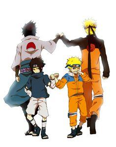 Pixiv Id 2397074, NARUTO, Uchiha Sasuke, Uzumaki Naruto, Back to Back