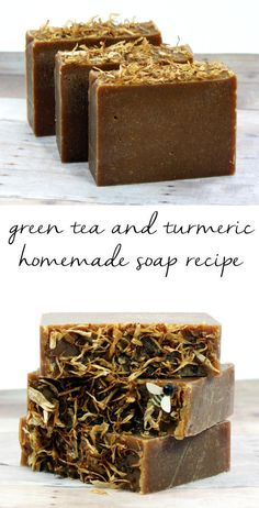 DIY Green Tea Turmeric Soap Recipe! This homemade green tea and turmeric soap recipe harnesses green tea's antioxidant properties and combines it with turmeric's anti-acne, anti-aging and skin lightening properties for a fantastic homemade soap that's great for all skin types. Plus it's palm free!