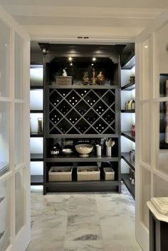 Walk in pantry.....I like the under shelf lighting