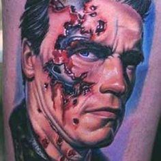 Realistic Portrait Tattoo of Arnold by Nikko Hurtado