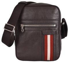 New BALLY Men's Brown Calf Leather Small Oakview Messenger Crossbody Bag #Bally…