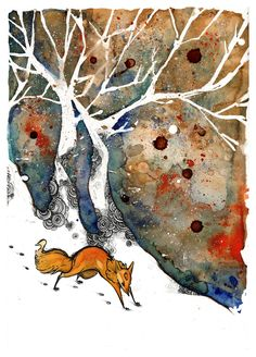 fox in winter painting -