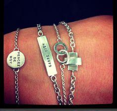 Silver Bracelets - Mini Pencez Bracelet, Carpe Diem Ballchain, Mini twosome bracelets & Cross Bracelet.
