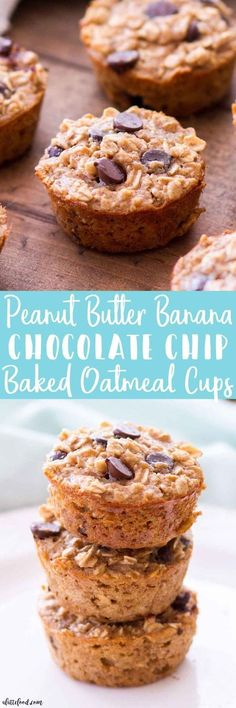Peanut Butter Banana Chocolate Chip Baked Oatmeal Cups