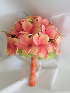 Frangipani Plumeria Bouquet Posy Real Touch by Abloomortwo on Etsy, $75.00