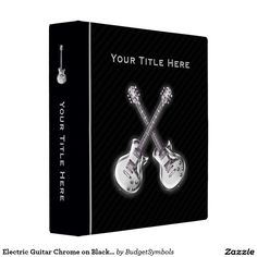 Electric Guitar Chrome on Black Personalized