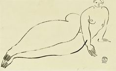 vjeranski:Reclining Nude by SanyuSanyu, sometimes called 'the Chinese Matisse', painted Parisian nudes after the French painter's fluid, minimalist style.