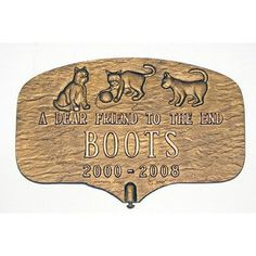 Montague Metal Products Cat Memorial Plaque Finish: Sand / Gold, Mounting: Wall