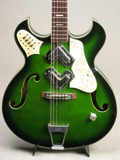 """1960's Greco 12 String Model GR 960 Semi Hollowbody Greenburst """"V"""" Pickups RARE"""