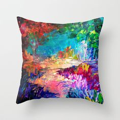 WELCOME TO UTOPIA Bold Rainbow Multicolor Abstract Painting Forest Nature Whimsical Fantasy Fine Art Throw Pillow by EbiEmporium - $20.00 Landscape Galaxy Stars Dream Elegant Rich Deep Crimson Red Lime Emerald Kelly Hunter Green Midnight Dark Royal Blue Turquoise Aqua Pastel Girly Pink Peach Orange White Black Modern Trees Flowers Grass Floral Mixed Media Chic Contemporary Decorative Throw Pillow Cushion #art #painting #nature #abstract #colorful #pillow #cushion #decor #bedding #bedroom #dorm