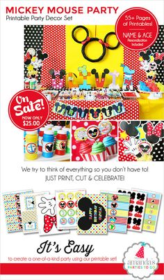 Mickey Mouse Birthday Decorations, Mickey Mouse Party Decorations, Mickey Mouse Clubhouse Birthday Printable, Amanda's Parties To Go Mickey Mouse Birthday Decorations, Mickey Mouse Party Decorations, Mickey Mouse Bday, Mickey Mouse Clubhouse Birthday Party, Mickey Mouse Parties, Mickey Birthday, Mickey Party, Birthday Ideas, 2nd Birthday