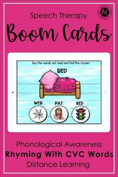 Speech Therapy Boom Cards Sound Blending with CVC Words Distance Learning Speech Therapy Activities, Language Activities, Pre-k Resources, Phonological Awareness Activities, Speech And Language, Language Arts, Preschool Special Education, Rhyming Words, Reading Fluency
