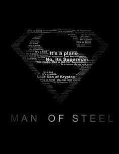 Superman Man of Steel typographie Print noir et par WordPlayPrints Mundo Superman, Batman Vs Superman, Superman Stuff, Superman Wallpaper, Superman Artwork, Steel Dc Comics, Superman Tattoos, Superman Man Of Steel, Martian Manhunter