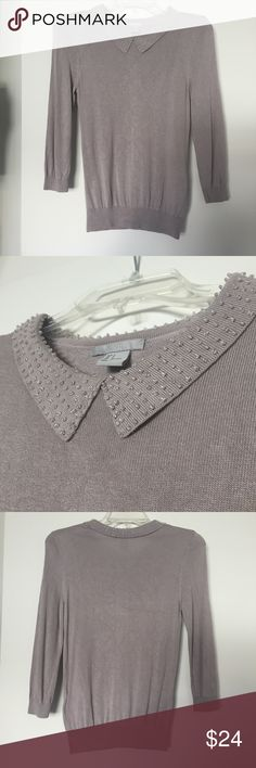 H&M Sweater With Beaded Collar Taupe/gray colored, thin sweater, with lovely beading on the collar. H&M Sweaters Crew & Scoop Necks